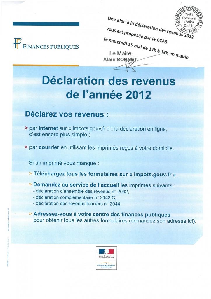 Aide du ccas la d claration de revenus 2012 mairie d - Declaration revenus location meuble de tourisme ...