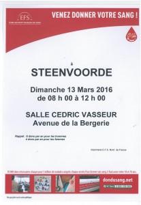 don du sang le 13 mars  2016